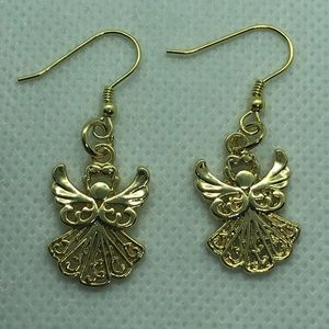 14k Gold Plated Angel Earrings NWT